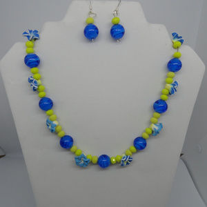 """Jewelry - 19"""" Blue/ Yellow Flowers Necklace and Earrings"""